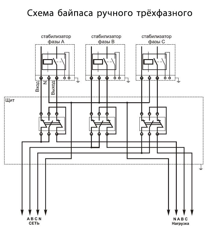 Картинка Схема подключения трехфазного ручного байпаса